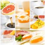 健康早餐的拼贴画 图库摄影