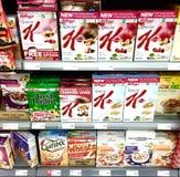 健康早餐谷物在超级市场 库存图片
