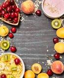 健康早餐,与空间的框架文本的 免版税库存图片