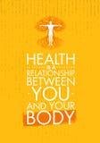 健康是您和您的身体之间的一个关系 富启示性的创造性的刺激行情模板 传染媒介印刷术 库存例证