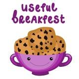 健康有曲奇饼传染媒介字符的早餐甜板材 与逗人喜爱的咖啡的传染媒介例证和甜曲奇饼 皇族释放例证