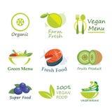 健康有机食品标签平的设计 图库摄影