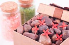 健康有红色禅宗石头的礼物盒和腌制槽用食盐关闭  免版税库存图片