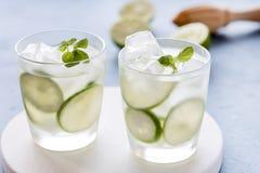 健康柠檬水石灰用新鲜薄荷和冰在一块玻璃在蓝色水平背景鲜美自创戒毒所水被灌输的水 免版税库存图片