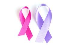 健康标志在白色背景的桃红色和淡紫色丝带 库存照片