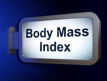 健康概念:在广告牌背景的身体容积指数 免版税图库摄影