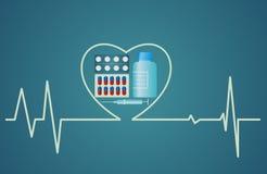 健康概念-心脏标志包括药片,平的设计 免版税库存照片