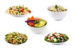 健康沙拉拼贴画  希腊沙拉、意大利面制色拉、凯萨色拉和菩萨碗 免版税库存图片