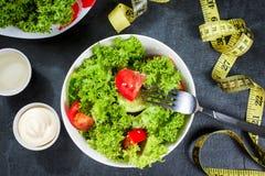 健康沙拉用大蒜奶油沙司或酸奶和叉子,饮食概念 库存图片