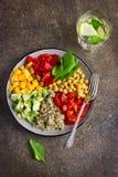健康沙拉用奎奴亚藜,鸡豆,鲕梨,甜椒,旋转 免版税库存照片