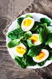 健康沙拉-菠菜婴孩叶子和煮沸的鸡蛋在hal切开了 库存照片