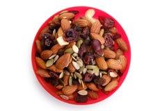 健康混杂的坚果和干果子 免版税库存图片