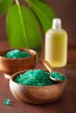 健康温泉浴的绿色草本盐 库存照片