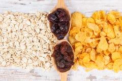 健康滋补干成份当来源维生素、碳水化合物和饮食纤维 库存照片