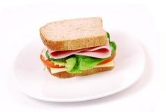 健康火腿三明治用乳酪,蕃茄 库存图片