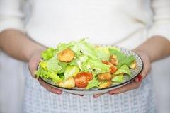 健康烤鸡凯萨色拉用乳酪和油煎方型小面包片 图库摄影