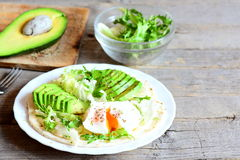健康玉米粉薄烙饼食谱 鲜美玉米粉薄烙饼用一个荷包蛋、鳄梨片、napa圆白菜、沙拉混合、调味汁和香料在板材 免版税图库摄影