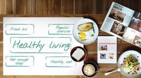健康生存锻炼饮食营养图表概念 库存照片