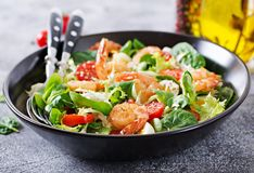 健康生菜盘 新海鲜食谱 烤虾和新鲜蔬菜沙拉和鸡蛋 烤大虾 库存图片