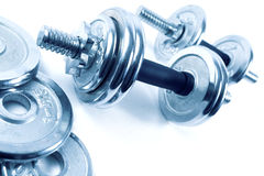 健康生活。健身房对象 免版税库存图片
