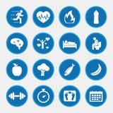健康生活方式概念象被设置的蓝色按钮 库存图片