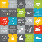 健康生活方式的例证infographic在被设计的舱内甲板 免版税库存照片