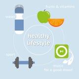 健康生活方式的Infographic例证 免版税库存图片