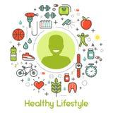 健康生活方式线艺术变薄象 向量例证