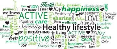 健康生活方式词云彩拼贴画传染媒介 图库摄影