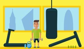 健康生活方式 在健身房的类 平的样式 免版税库存图片