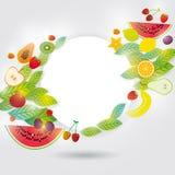 健康生活方式 苹果背景香蕉果子芒果柑橘集合白色 您的文本的框架 图库摄影