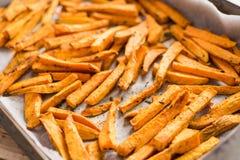 健康白薯,被烘烤的油炸物 免版税库存照片