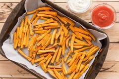 健康白薯,被烘烤的油炸物 免版税库存图片