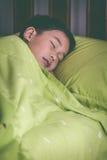 健康的子项 平安地睡觉在床上的小亚裔男孩 Vint 库存图片