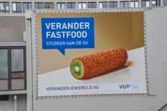 健康的广告牌吃在VU阿姆斯特丹荷兰 免版税库存图片