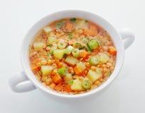 健康的碗扁豆和韭葱汤 免版税库存图片