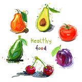 健康的食物 果子设置了蔬菜 抽象向量例证 免版税库存照片