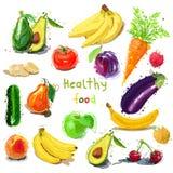 健康的食物 果子设置了蔬菜 抽象向量例证 免版税图库摄影