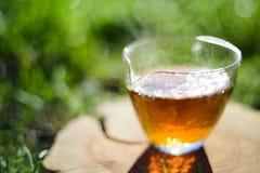 健康的饮料 在玻璃杯子的新近地酿造的红茶在木头 库存图片
