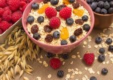 健康粥用在帆布的果子 图库摄影