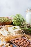 健康素食主义者蛋白质来源和健美食物的分类 免版税图库摄影