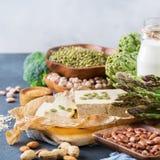 健康素食主义者蛋白质来源和健美食物的分类 图库摄影