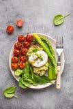 健康素食膳食板材 免版税库存照片