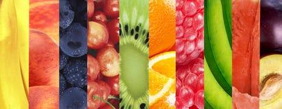 健康背景的食物 新鲜的夏天果子拼贴画在fo 免版税库存照片