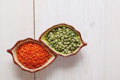 健康脉冲产品扁豆和豌豆 库存照片