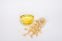 健康腰果,橄榄油 免版税库存照片