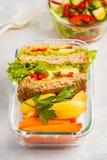 健康膳食预习功课容器用乳酪菜三明治, f 图库摄影