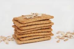健康自然饮食和健身整粒饼干 燕麦和缺一不可的快餐 免版税库存图片