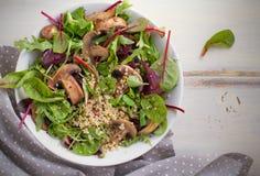 健康色拉盘用奎奴亚藜、蘑菇和混杂的绿色 健康素食主义者和素食主义者食物 图库摄影