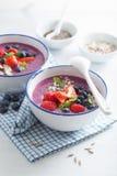 健康莓果圆滑的人碗用草莓蓝莓莓 库存照片